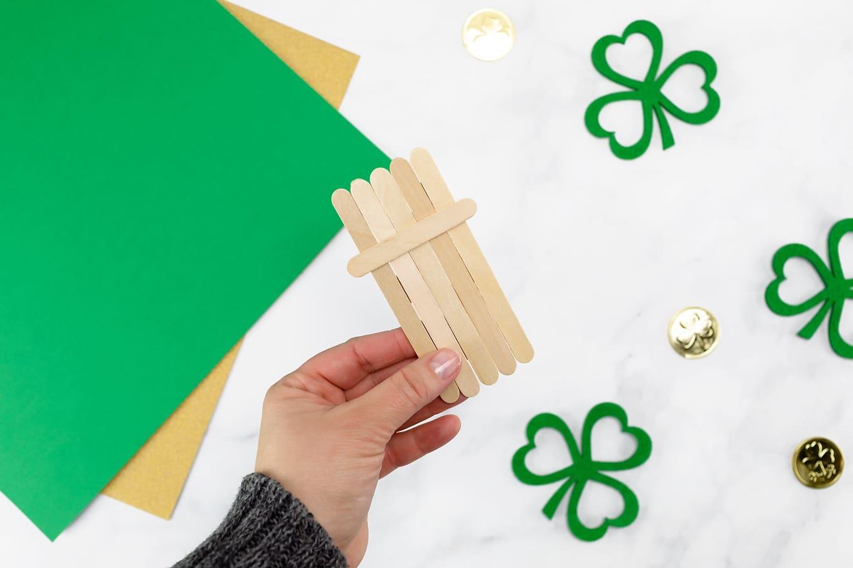 Craft Stick Leprechaun In-Process