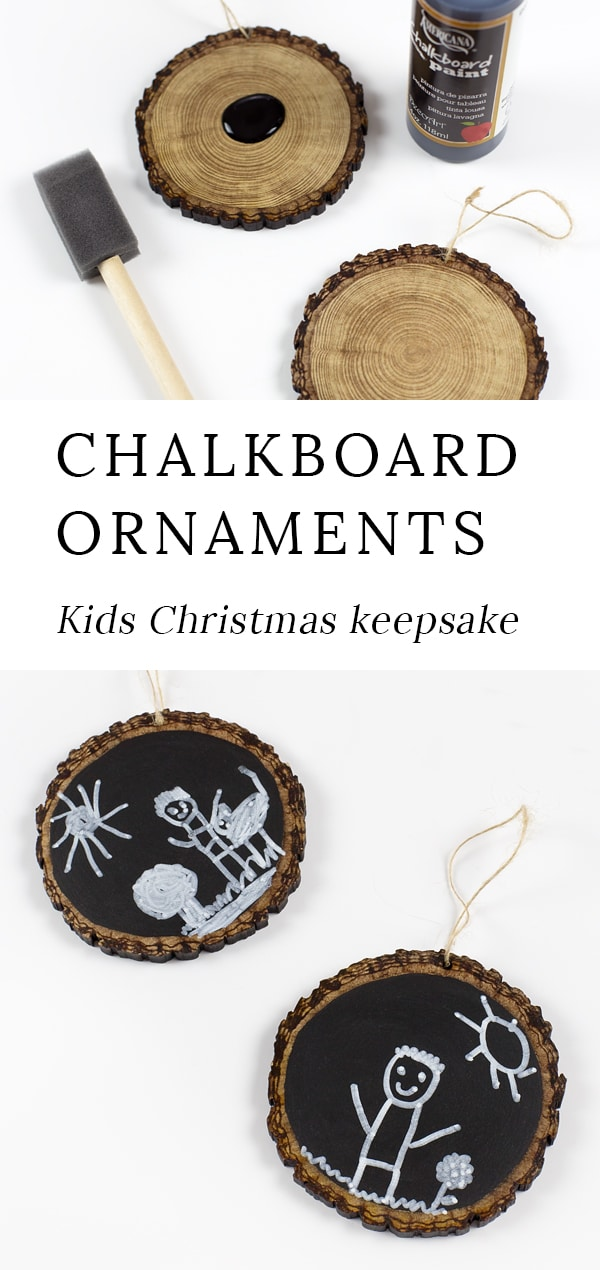 These Easy Keepsake Chalkboard Ornaments, guaranteed to make your heart swoon every holiday season. Made with wood slices, chalkboard paint, and your child's drawings, they are the perfect Christmas gift for moms, grandparents, and teachers. #ornaments #chalkboard #kids #crafts via @firefliesandmudpies