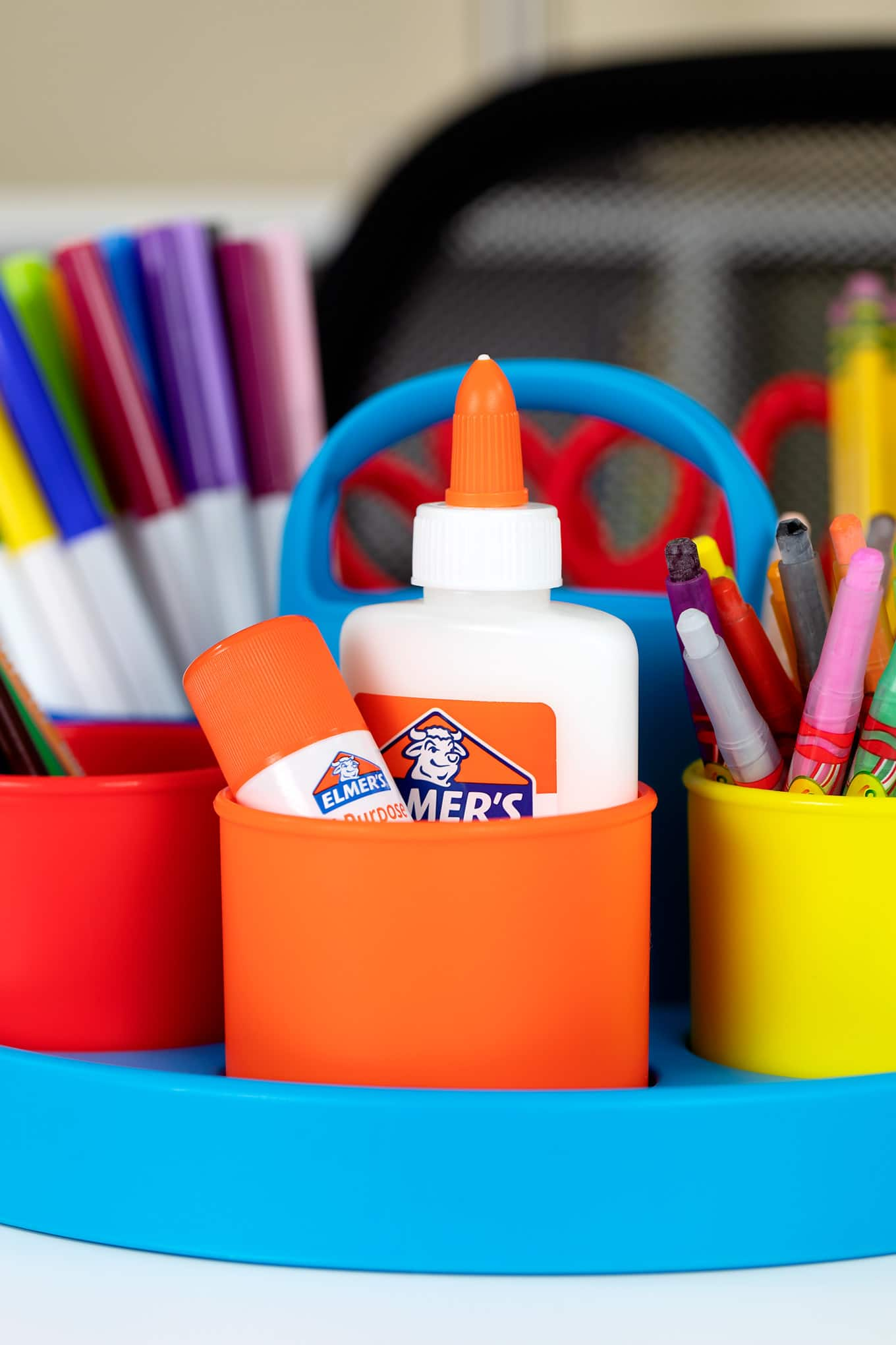 Colorful School Supply Caddy for a Kids Homework Station