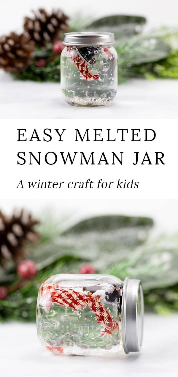 If you are looking for an easy DIY melted snowman craft for kids, you will love this idea! This melted snowman in a jar craft is fun for kids to make at school, home, or at community programs, such as library storytime. Like a snow globe, kids will enjoy twisting and turning the jar to watch the melted snowman swirl around. It's such a fun winter craft! #snowman #craft via @firefliesandmudpies