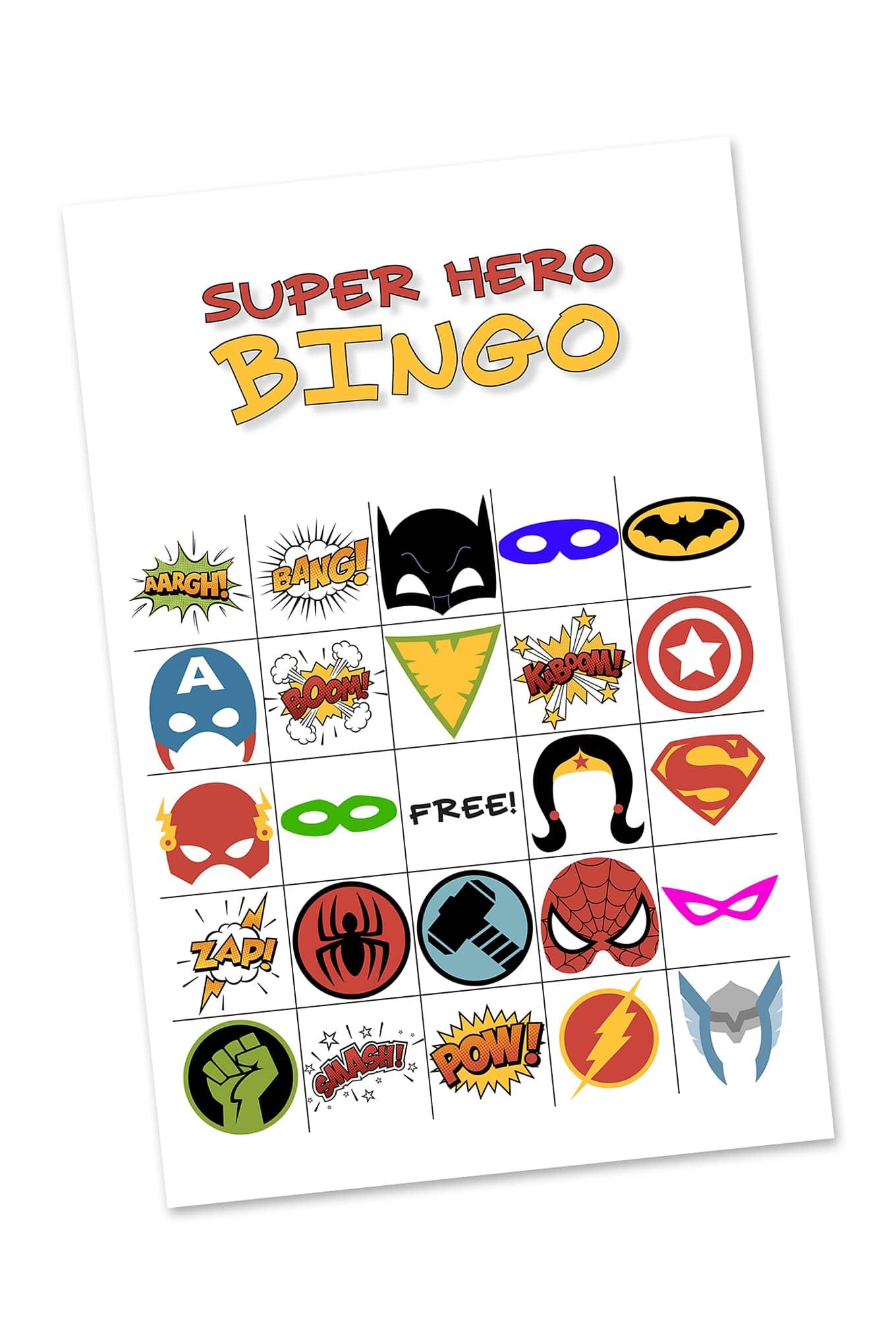 Free Printable Super Hero Bingo Party