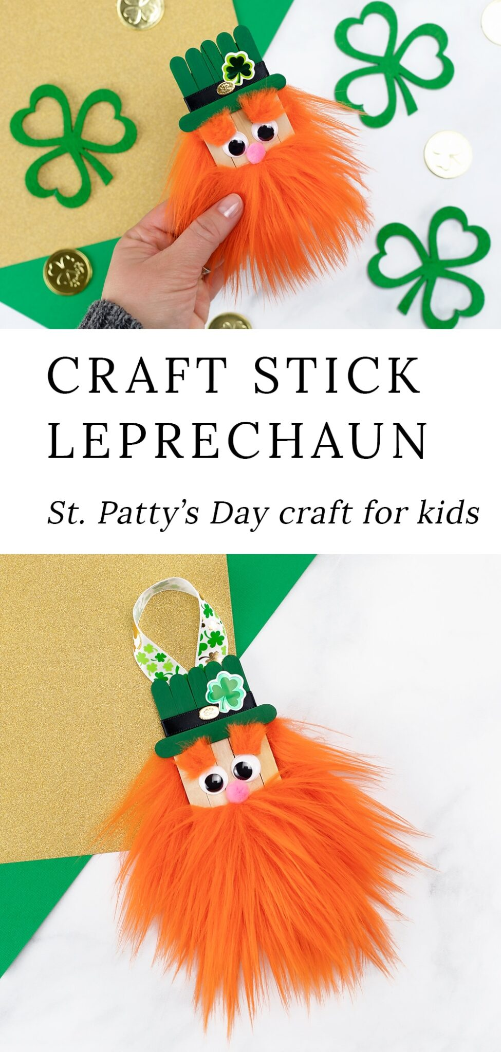 Learn how to make a fun popsicle stick leprechaun craft with our step-by-step directions and video tutorial. It's the best St. Patrick's Day craft for kids! #leprechaun #craft via @firefliesandmudpies