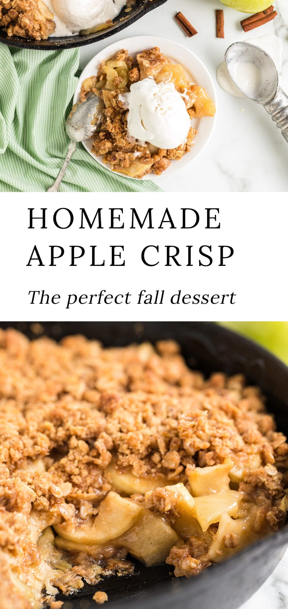 Our favorite homemade apple crisp is bursting with sweet apple flavor. This fall treat is best served fresh from the oven, so get ready to bake some today! #applecrisp #baking #recipes via @firefliesandmudpies