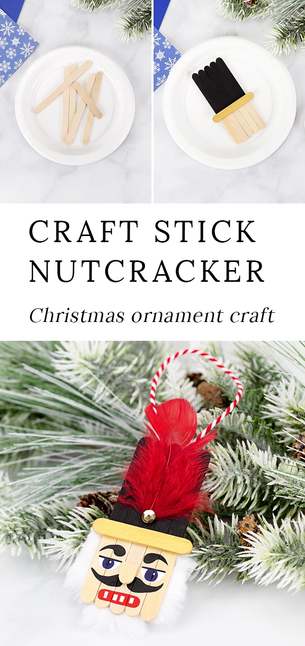 Christmas is the perfect holiday for nutcracker decorations! Made with craft sticks, paint, and basic craft supplies, this easy and fun wooden popsicle stick nutcracker ornament is a fun holiday keepsake for kids and adults to make.#nutcracker #ornament via @firefliesandmudpies