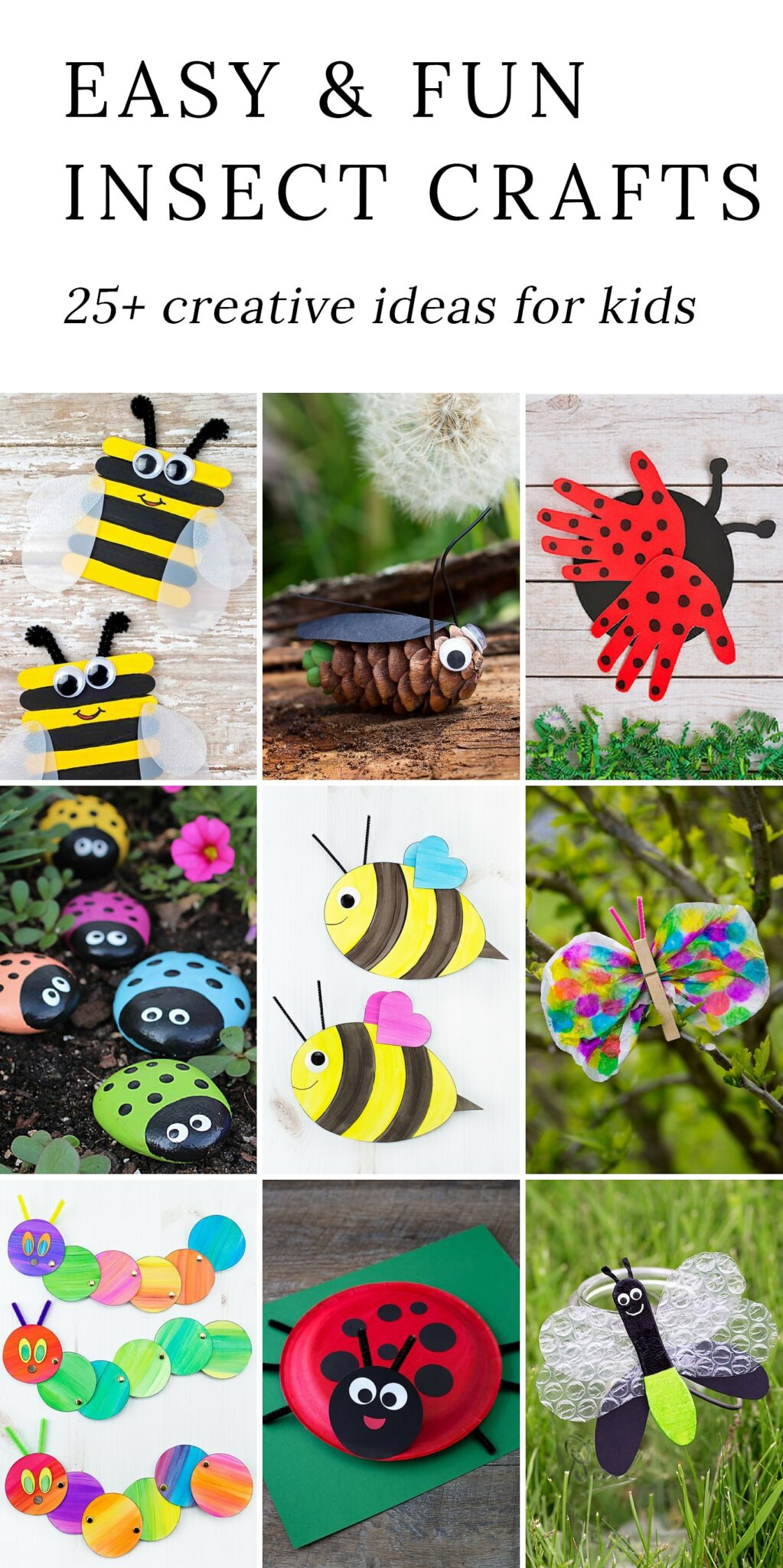 Discover 25+easy and fun insect craftsthat are perfect for summer camp, garden or insect-themed birthday parties, or just as a relaxing, crafty way to bond with your child at home. #insectcrafts #bugcrafts #summercrafts via @firefliesandmudpies