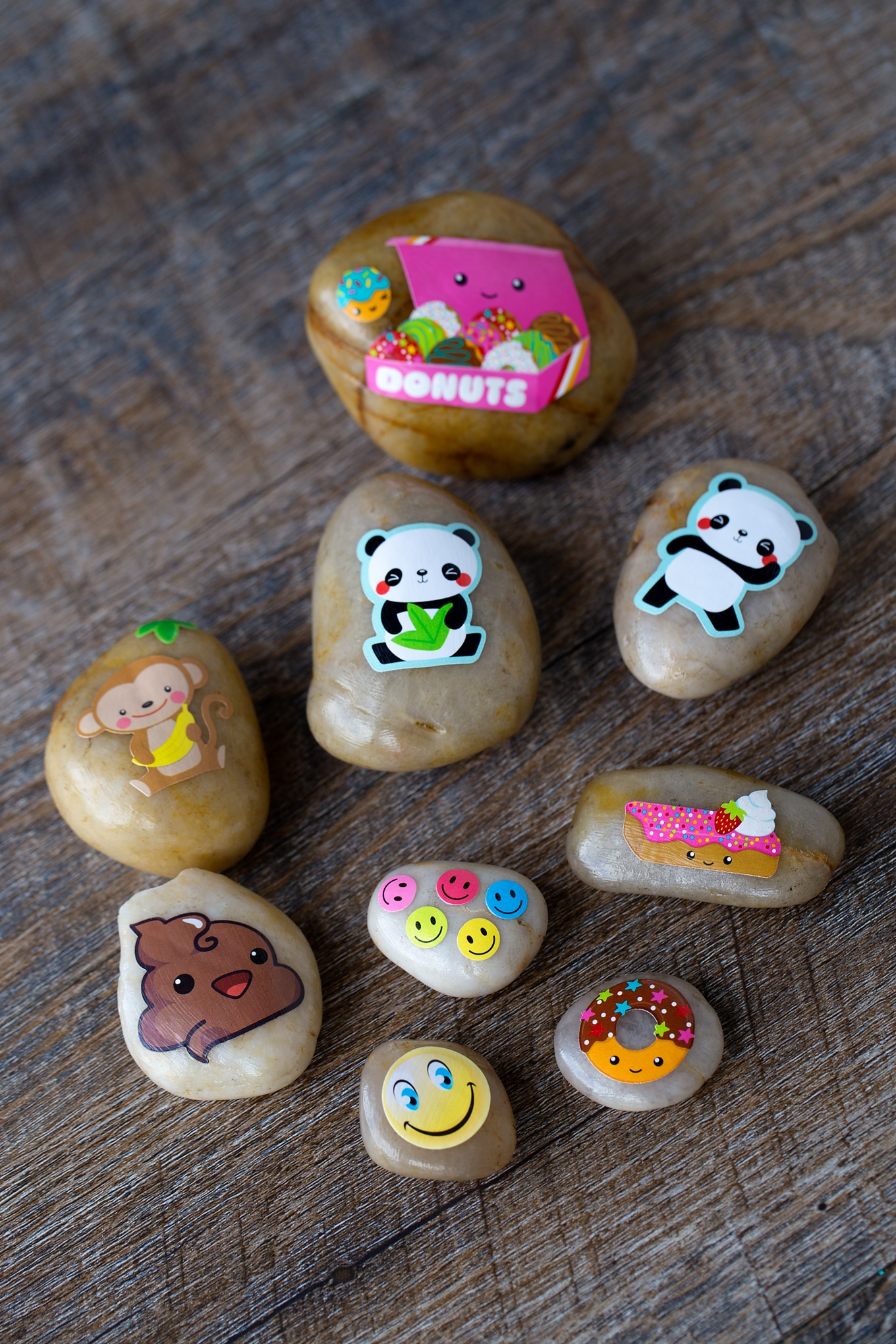 A Group of Sticker Rocks