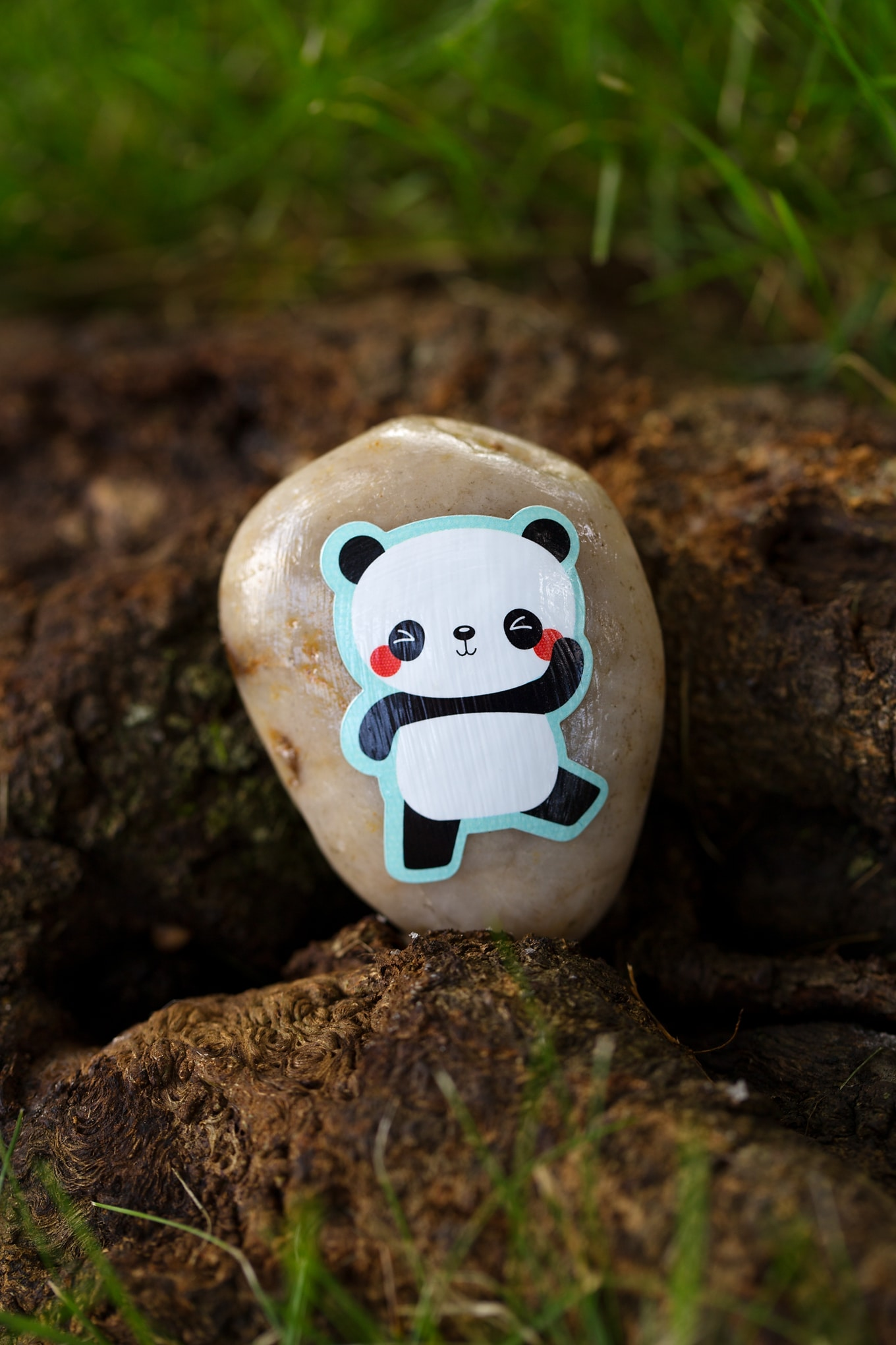 Panda Bear Sticker Rock