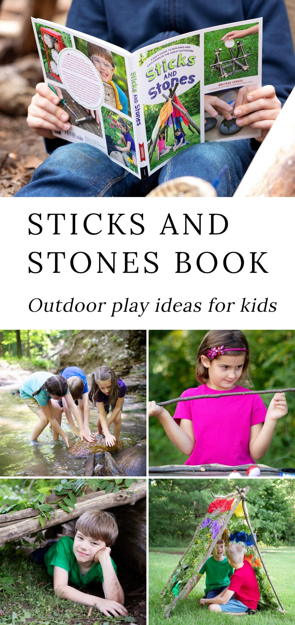 Sticks and Stones presents a treasure trove of building and engineering ideas for children to employ in the great outdoors using the materials made readily available to them, from shelters and forts to bridges and dams. Many smaller-scale projects are included, too—such as how to make ochre paint with shale, make a fishing pole, and carve a marshmallow roasting stick. #books #kids #outdoor via @firefliesandmudpies