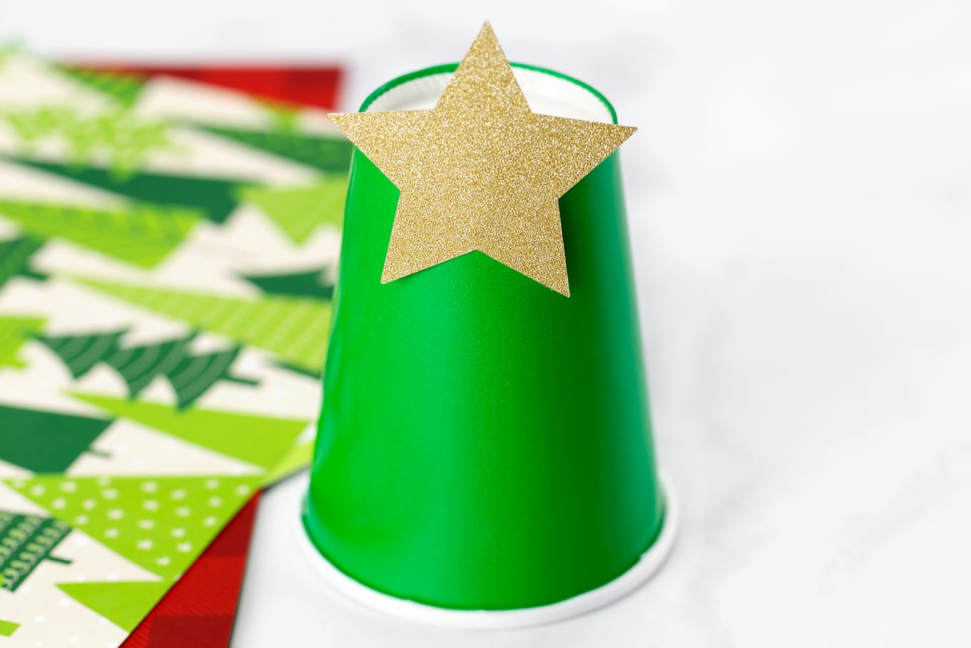 Paper Cup Christmas Tree In-Process