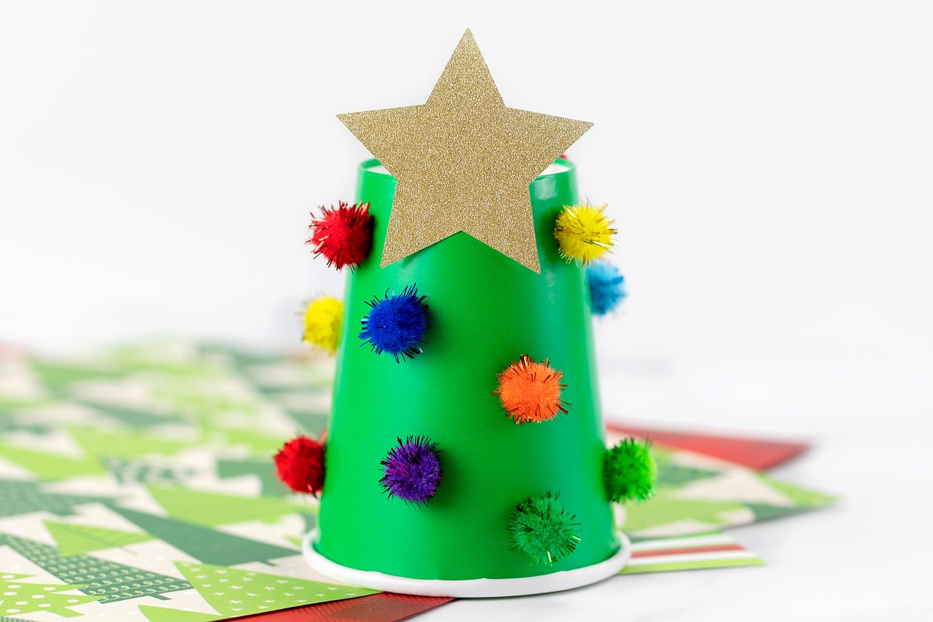 Paper Cup Christmas Tree with Pompoms