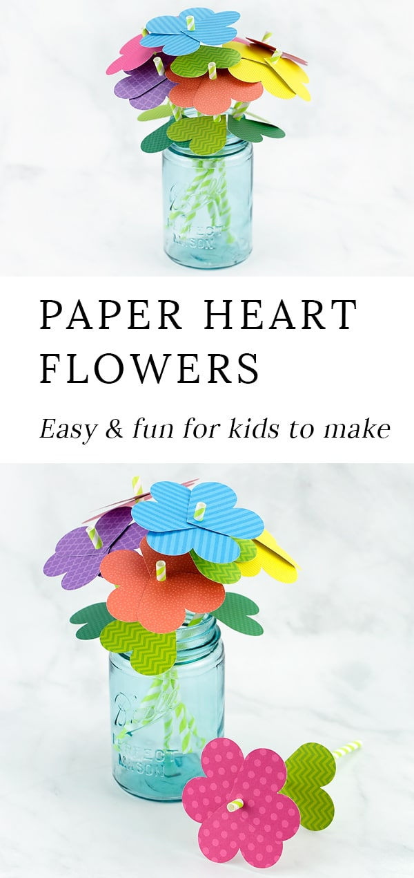 Learn how to make fun paper heart flowers for Valentine's Day or Mother's Day. It's the perfect craft for kids of all ages! #heart #flowers via @firefliesandmudpies