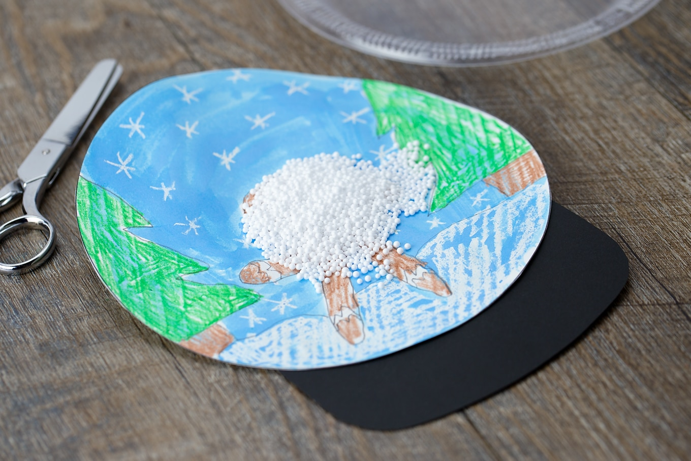 Plastic Plate Snow Globe Craft In-Process