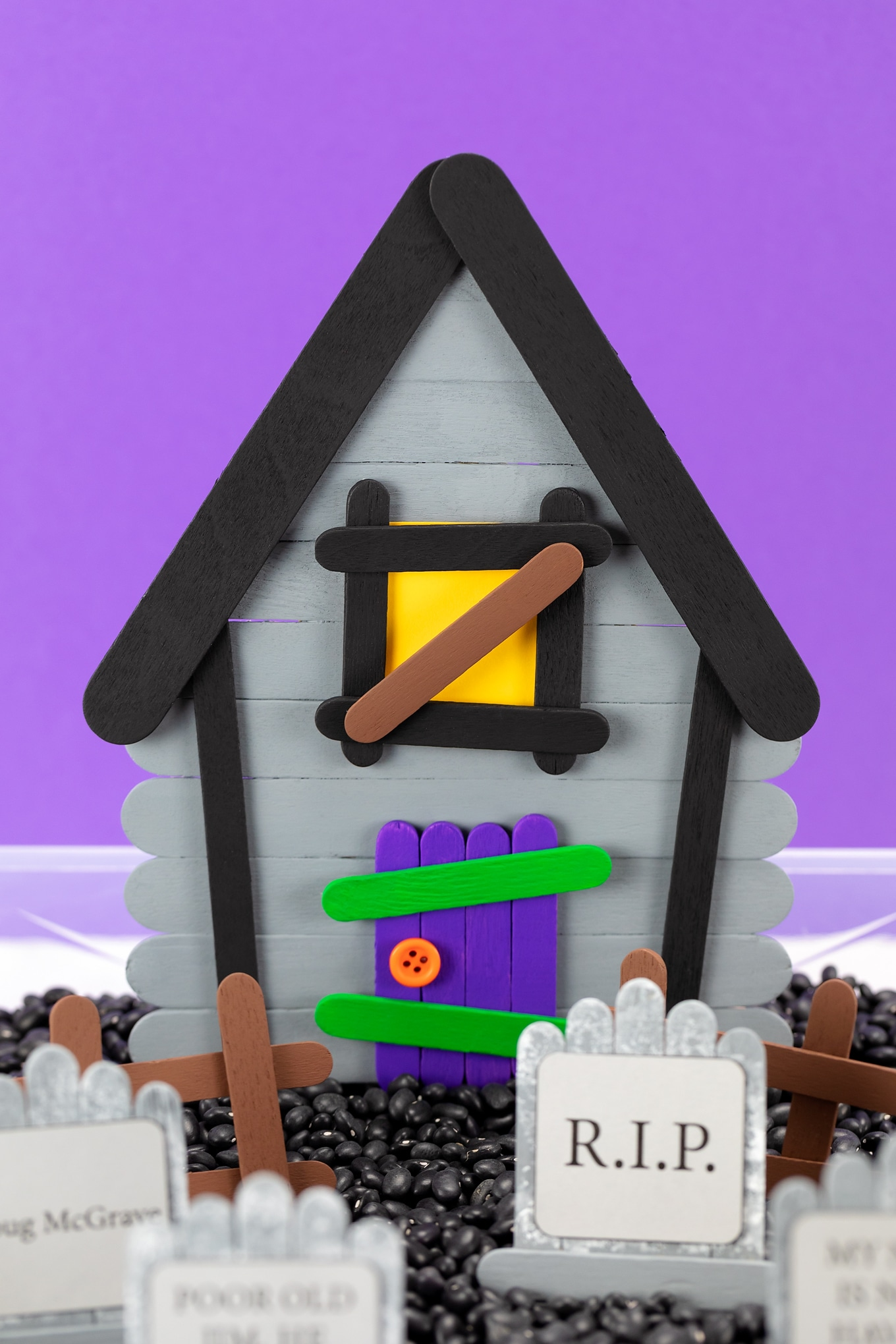 Popsicle Stick Haunted House Craft for Kids