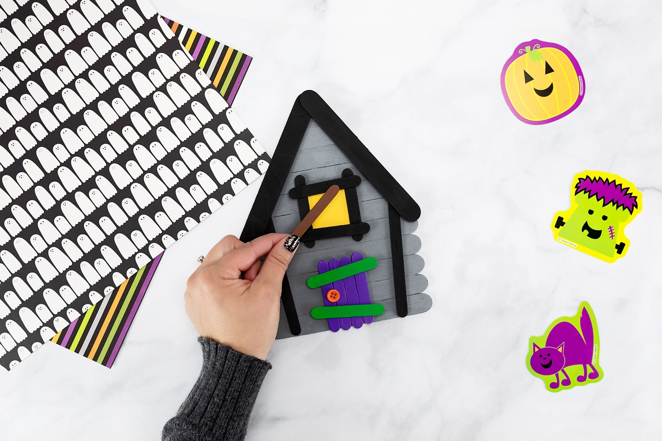 Easy and Fun Popsicle Stick Haunted House Craft