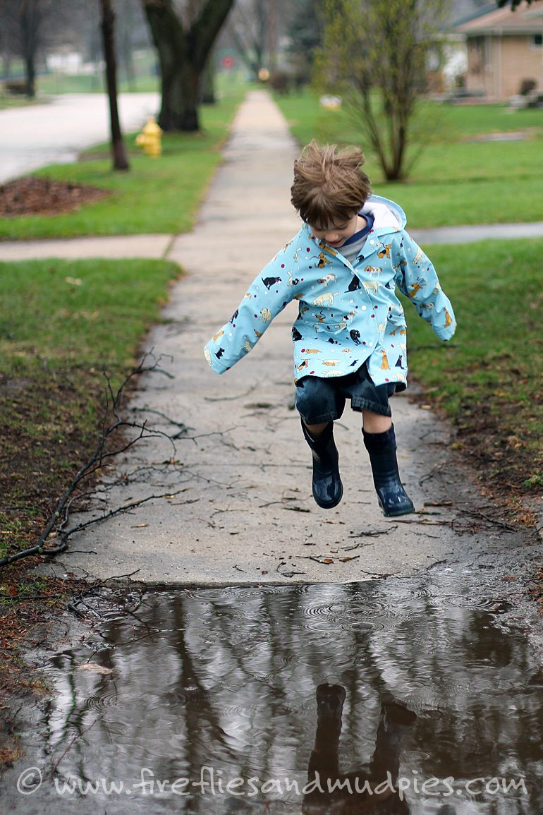 So much fun! Puddle jump on a rainy day!