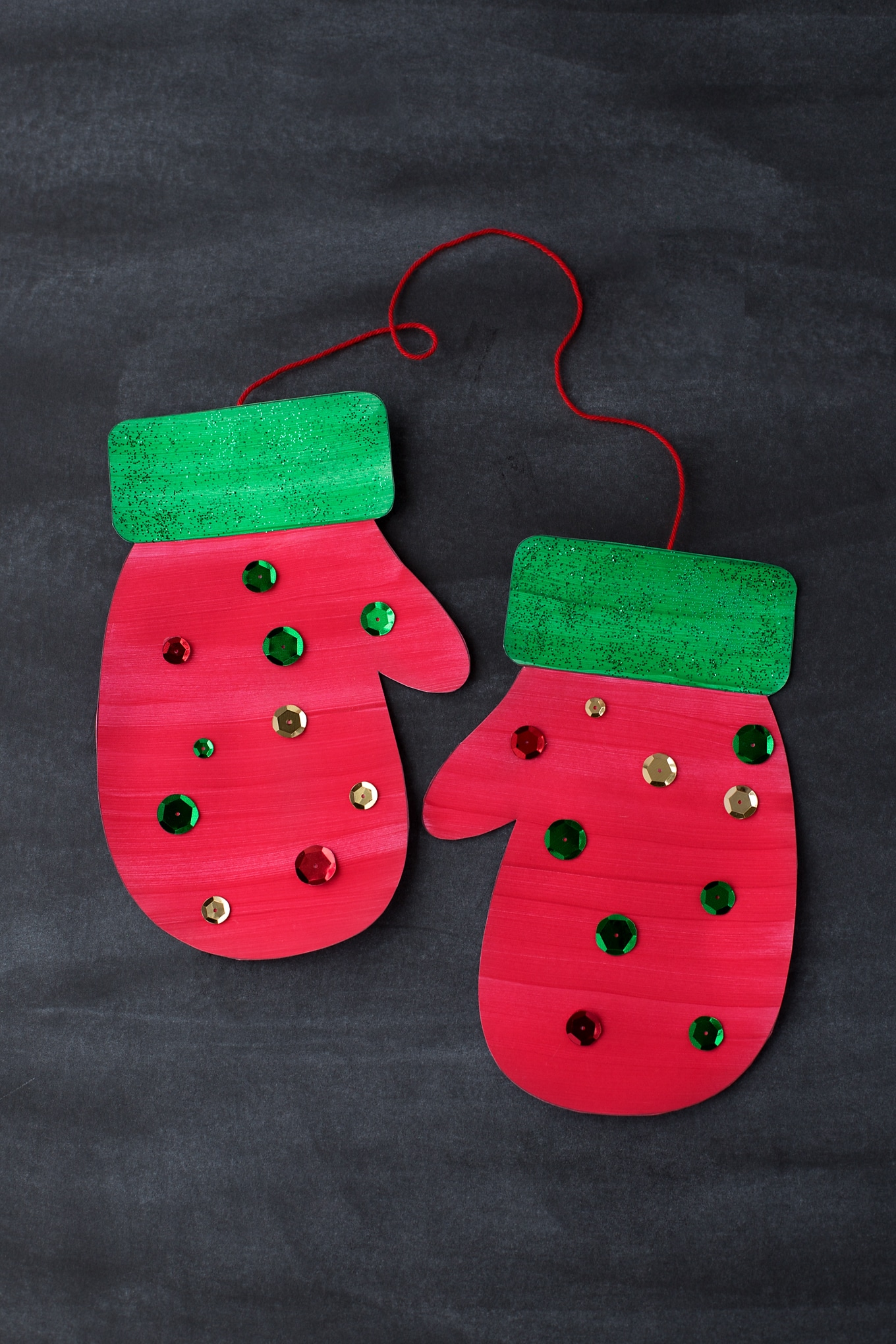 Red and Green Paper Mitten Craft for Christmas