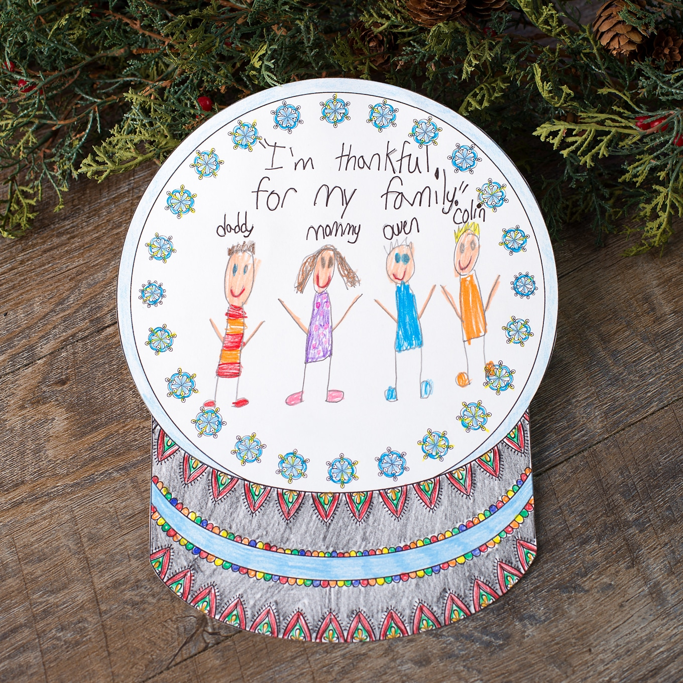 Printable Snow Globe Coloring Craft for Kids