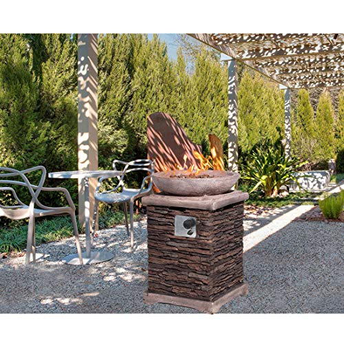 hompus propane patio fire pit table lava rocks and rain cover for outdoor leisure party 40 000 btu 20 inch square