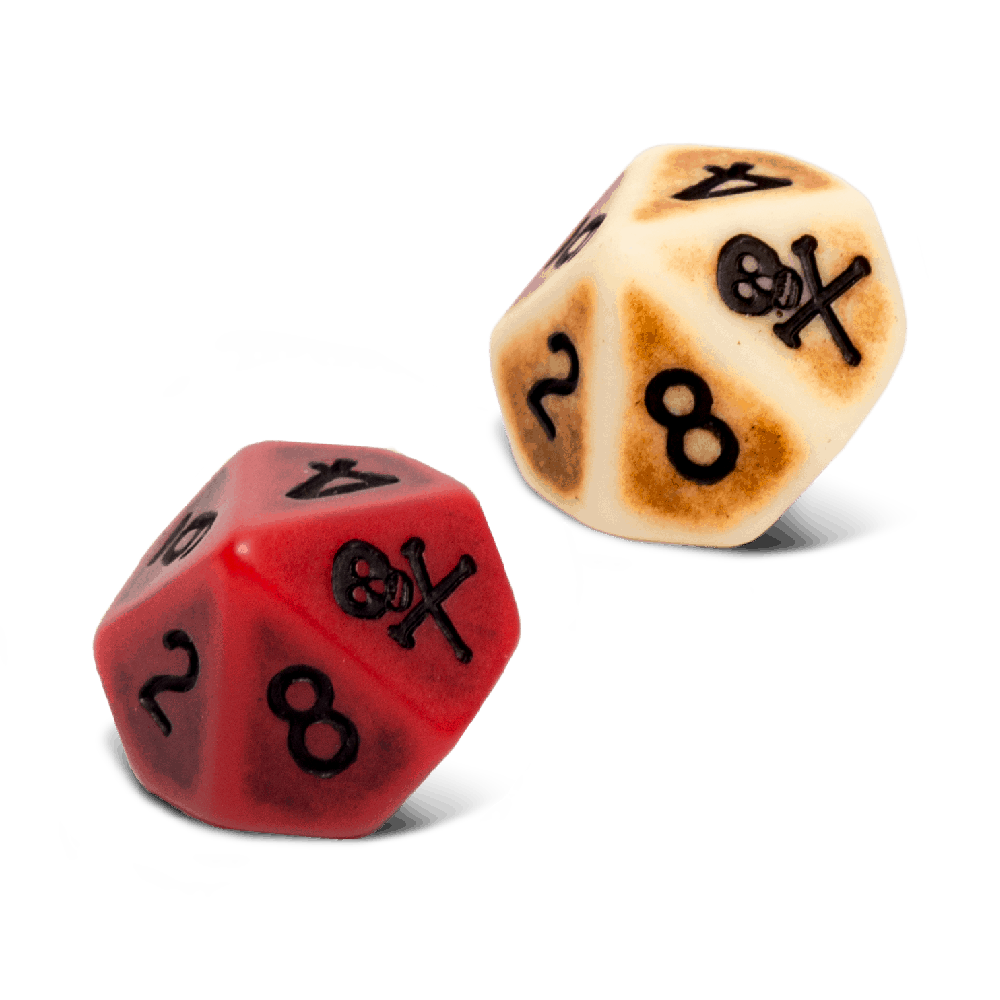 2 d10 dice, the plunder dice and the blood dice