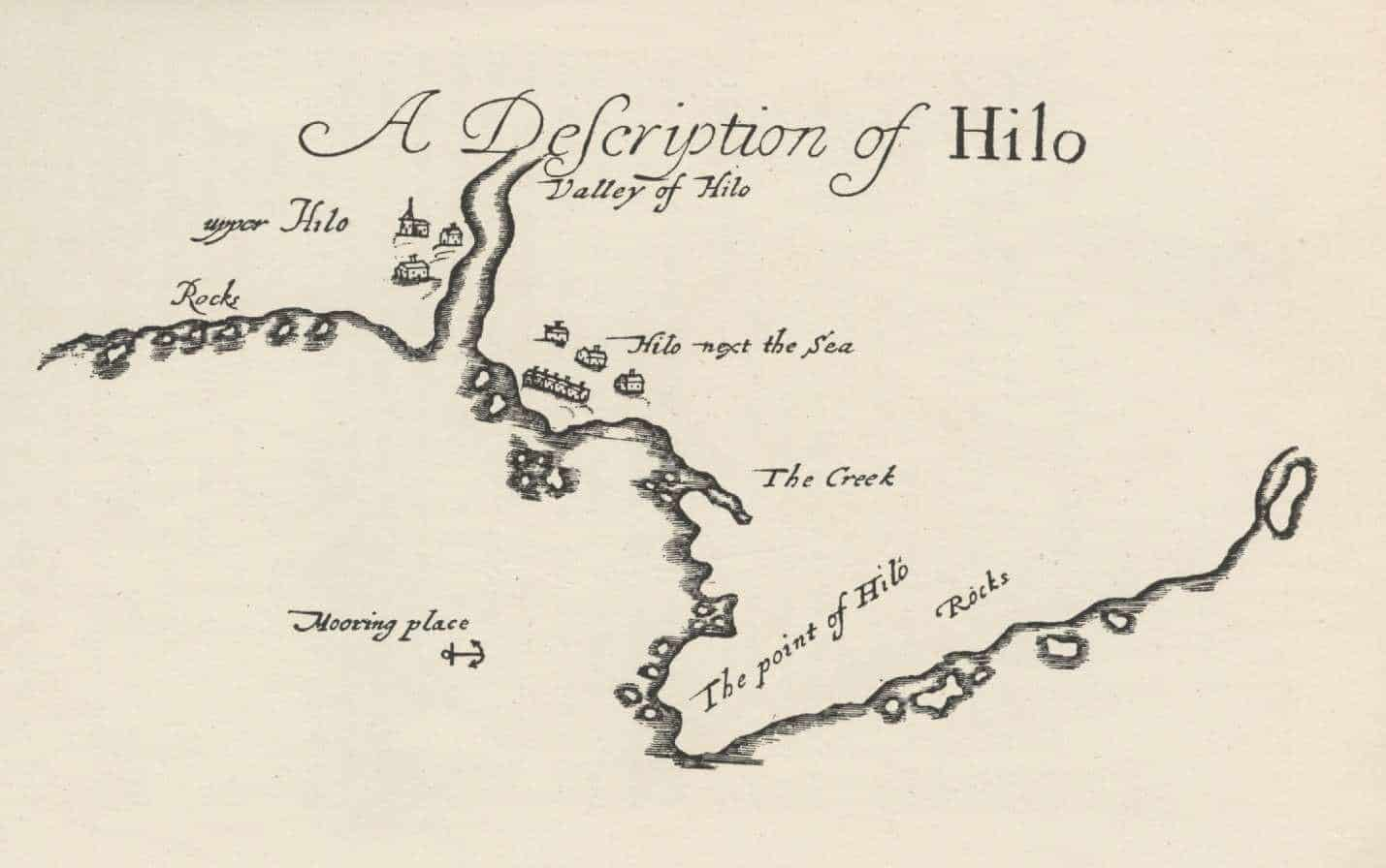 """Hilo"" as depicted in The Buccaneers of America, 1684."
