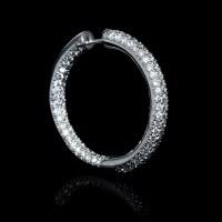 7.06ct Diamond 18k White Gold Hoop Earrings