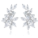 6.59ct Diamond 18k White Gold Cluster Earrings