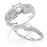 Diamond Antique Style 18k White Gold Engagement Ring ...