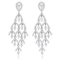 3.50ct Diamond 18k White Gold Chandelier Earrings