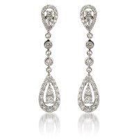 1.33ct Diamond 18k White Gold Chandelier Earrings