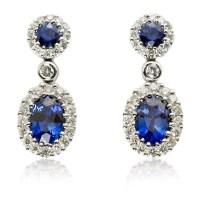 .49ct Diamond and Blue Sapphire 18k White Gold Dangle Earrings