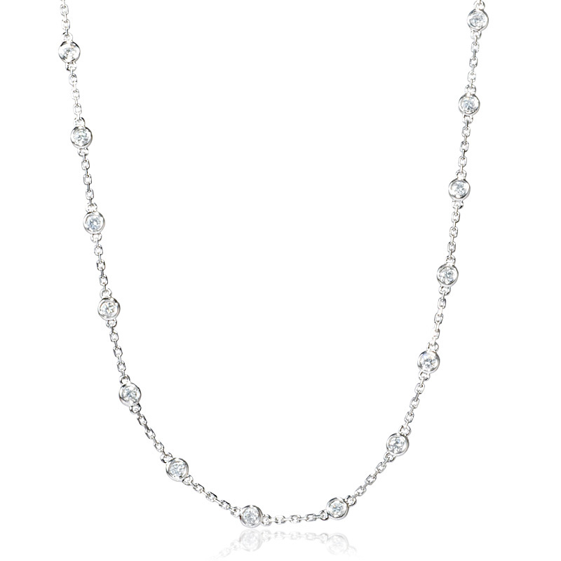 101ct Diamonds By The Yard 18k White Gold Necklace
