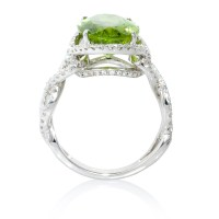 .69ct Diamond and Peridot 18k White Gold Ring