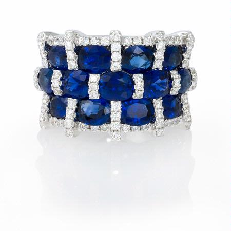 57ct Diamond and Oval Blue Sapphire 18k White Gold Three Row Wide Band Ring