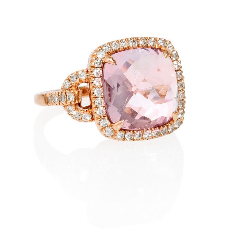 Rose Gold Ring: Pink Amethyst Rose Gold Ring