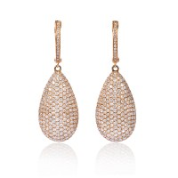 3.88ct Diamond 18k Rose Gold Dangle Earrings