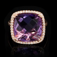 .13ct Diamond and Pink Amethyst 14k Rose Gold Ring