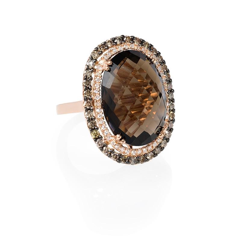 86ct Diamond And Smokey Topaz 14k Rose Gold Ring