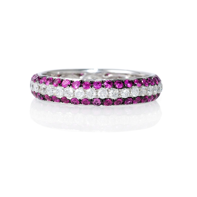 56ct Diamond And Pink Sapphire 18k White Gold Eternity