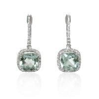 .22ct Diamond and Green Amethyst 14k White Gold Dangle ...