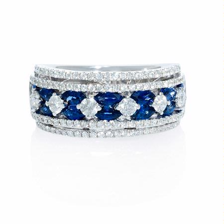 80ct Diamond And Marquise Sapphire 18k White Gold Wide