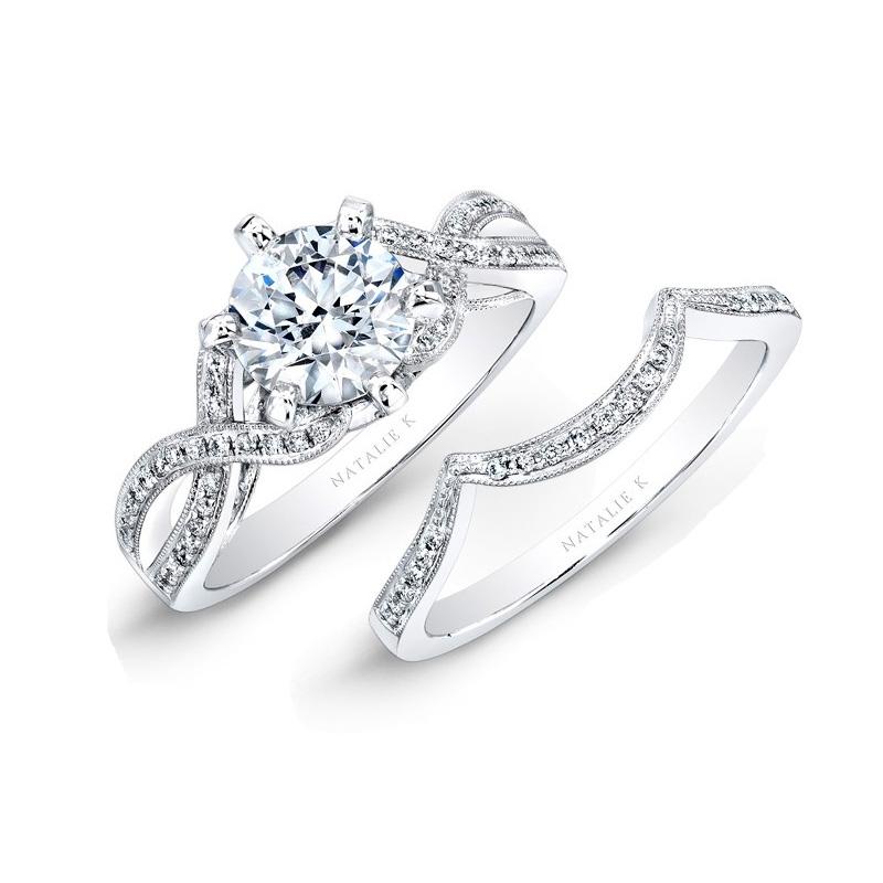 Natalie K Diamond 18k White Gold Engagement Ring Setting