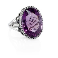 .25ct Diamond and Purple Amethyst 18k White Gold and Black ...