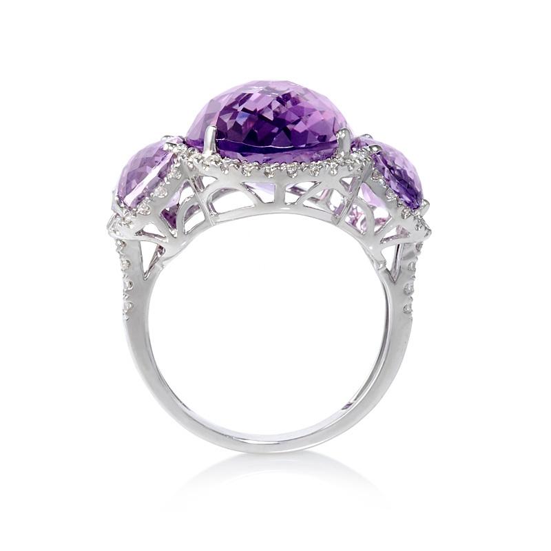 34ct Diamond And Purple Amethyst 18k White Gold Ring