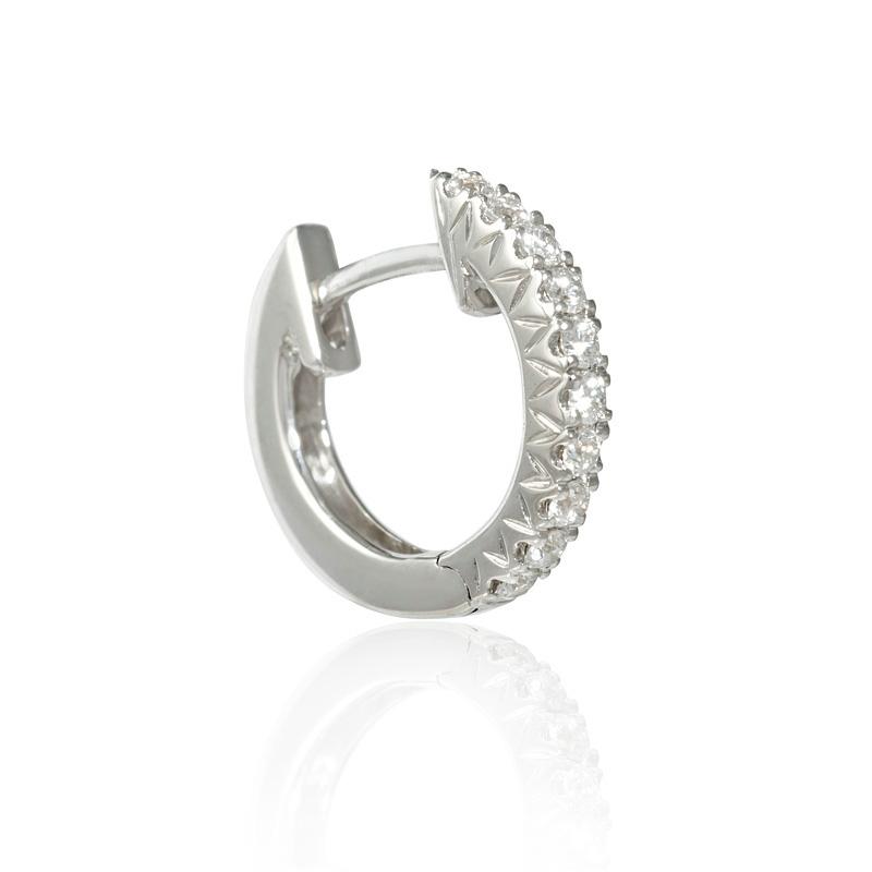 .18ct Diamond 18k White Gold Huggie Earrings