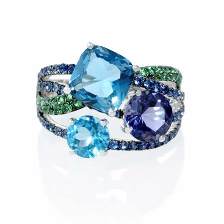 Blue Sapphire Green Tourmaline Iolite And Blue Topaz 18k