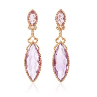 .75ct Diamond and Pink Amethyst 18k Rose Gold Dangle Earrings