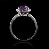 .13ct Diamond and Purple Amethyst 14k White Gold Ring