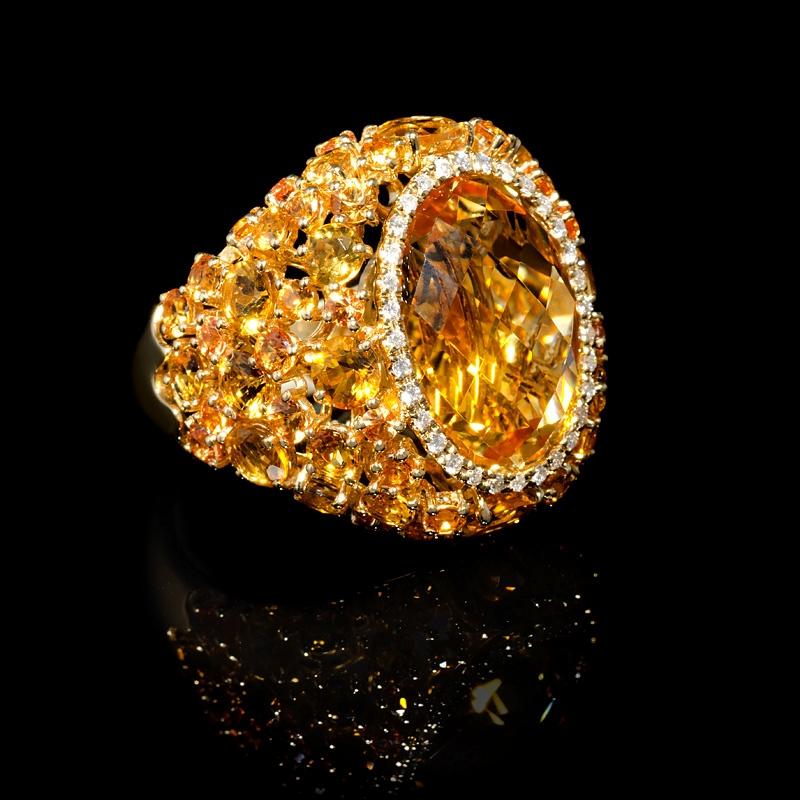 18ct Diamond Yellow Sapphire And Citrine 18k Yellow Gold Ring