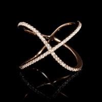 .16ct Diamond 18k Rose Gold X Ring