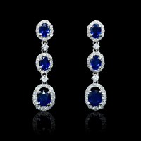 .63ct Diamond and Blue Sapphire 18k White Gold Dangle Earrings